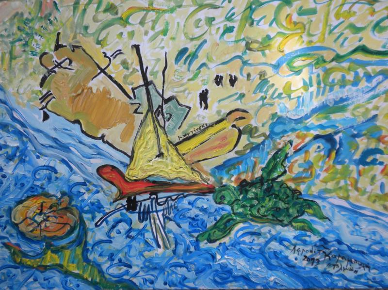 Afroditi Karamanli, acrylic on canvas, 40x60, 2015
