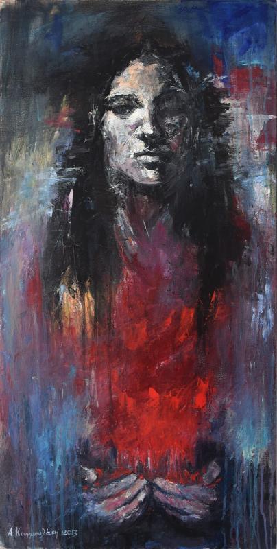 Angeliki Kourmoulaki Offer, 2013, series, Deep curve line, acrylic on canvas, 100x50cm