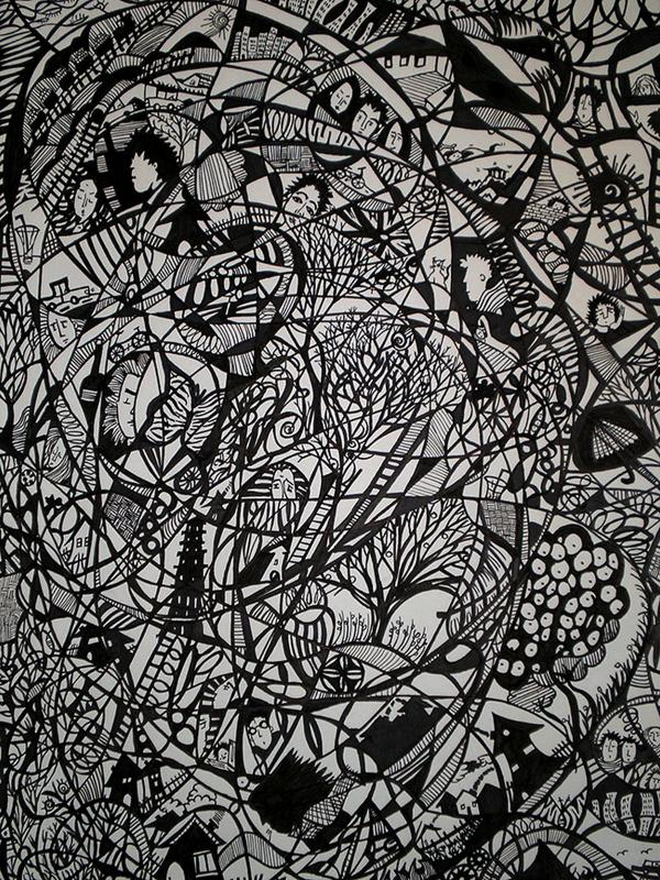 Anna Gkioti, Chaos, 2018, drawing on paper, marker, pen, black ink, 47 x 33 cm