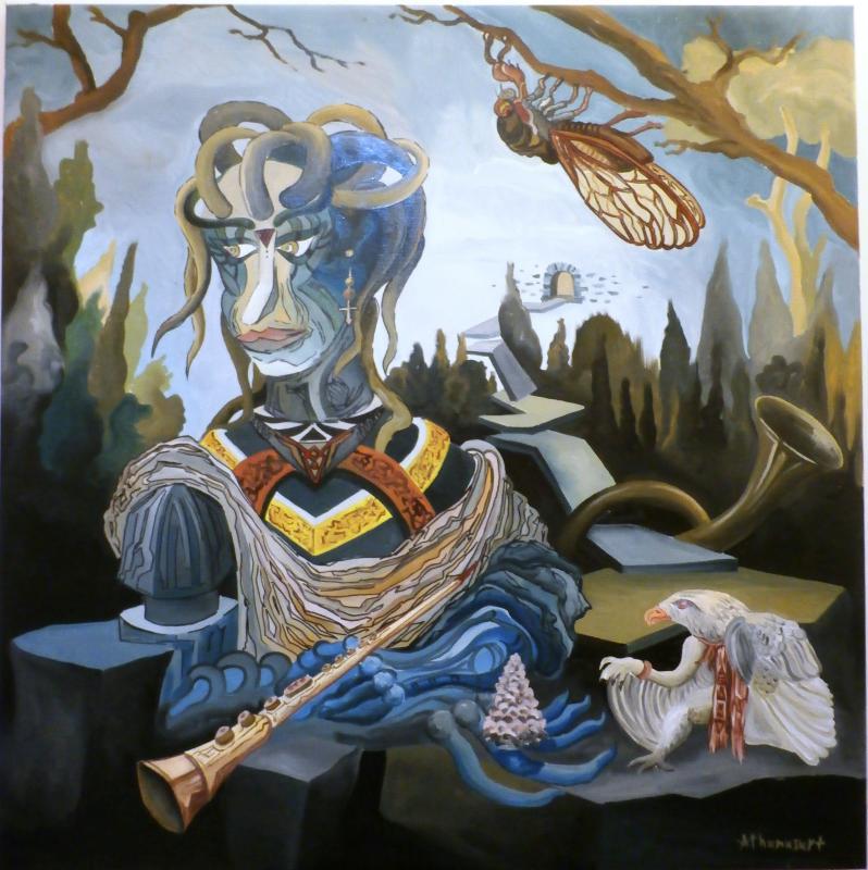 Athanas, Eytherpi, oil on canvas, 90x90 cm