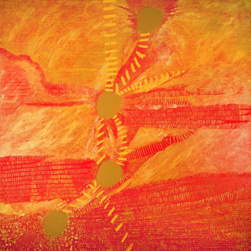 Chrissovitsanu, Camel footprints, acrylic, 100 x 80 cm