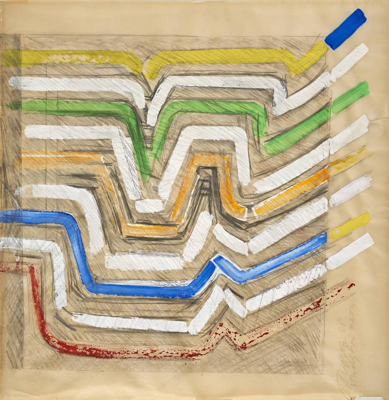 Chryssa, Study for Neon, 1966, 43.2 x 44.4 cm