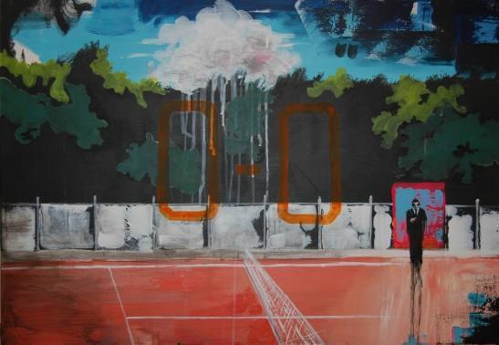 Cristian Bogdan Bara, Tennis court, 2015, oil on canvas, 70x100 cm