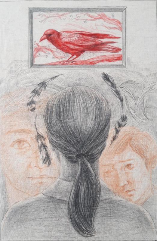 Damianidou Veroniki,Strange news for a flight,Pencil on paper,Colored pencils om paper,51x33cm