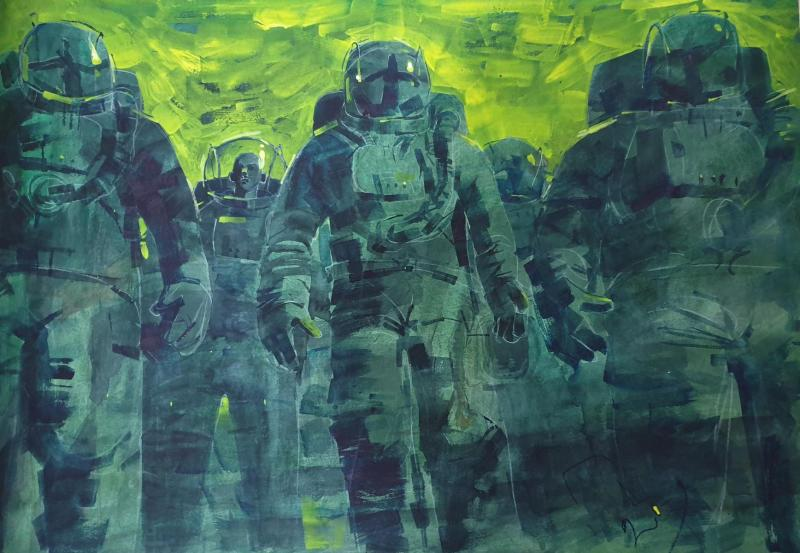 DENIS PETRULENKO, Green Space, Acrylic on canvas