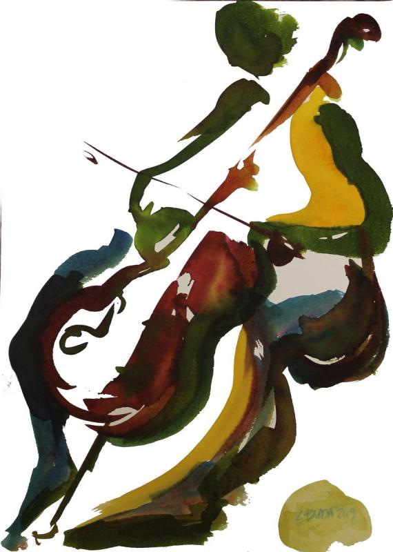 Dimitra Lampretsa, Celist, 2019, inks on paper, 25X35cm