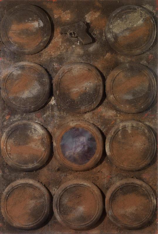 Dimitris Alithinos, Untitled, wood, earth, printed photo, watches, plexiglas, metal, 78x115 cm., 2004