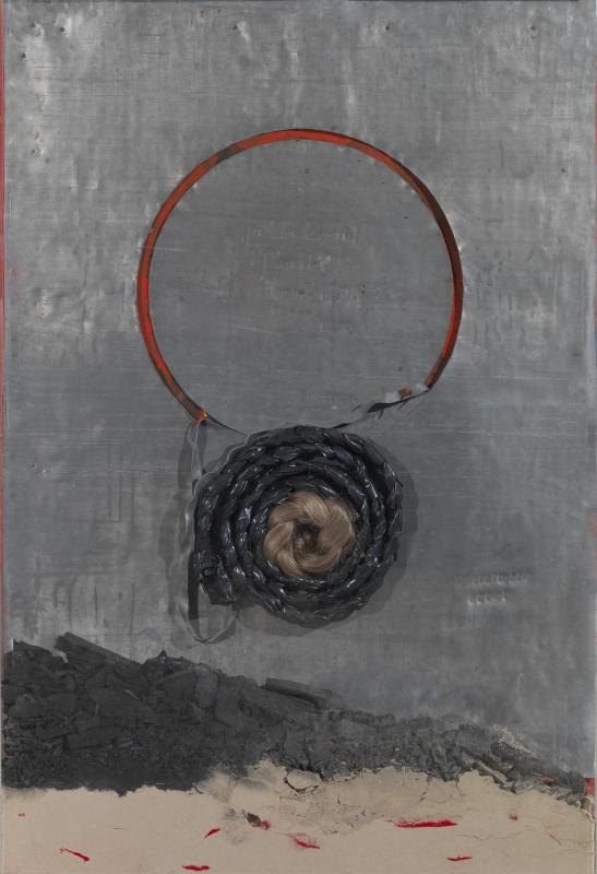 Dimitris Alithinos, Untitled, wood,pencil,charcoal,ash,hair,plexiglas,78x115 cm., 2000