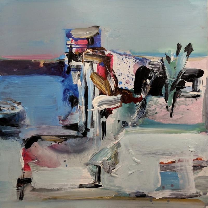 Dimitris Koukos, Sounio, acrylic on canvas, 100 x 100 cm