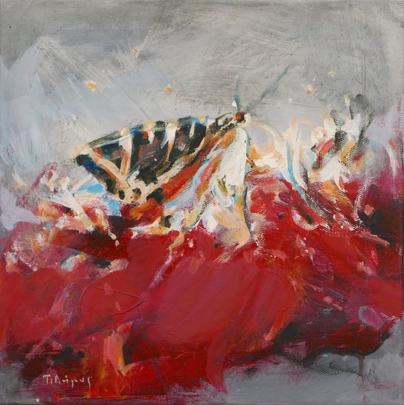 Dimos Tasos, Butterfly, acrylic and oil on canvas, 30x30cm
