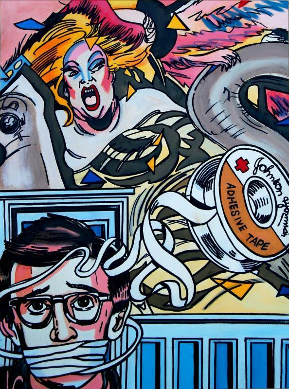 Erro (Gudmundur), 2013, Acrylic on Canvas, Madonna and Woody Allen, 80x59cm