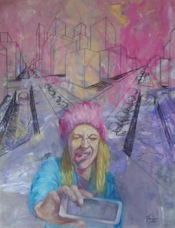 Evi Panteleon, Grimace, 80x100cm, oil on canvas
