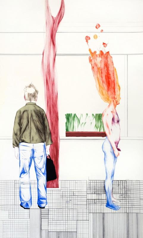 Fazos Konstantinos, mixed media on paper, 220 x 150 cm