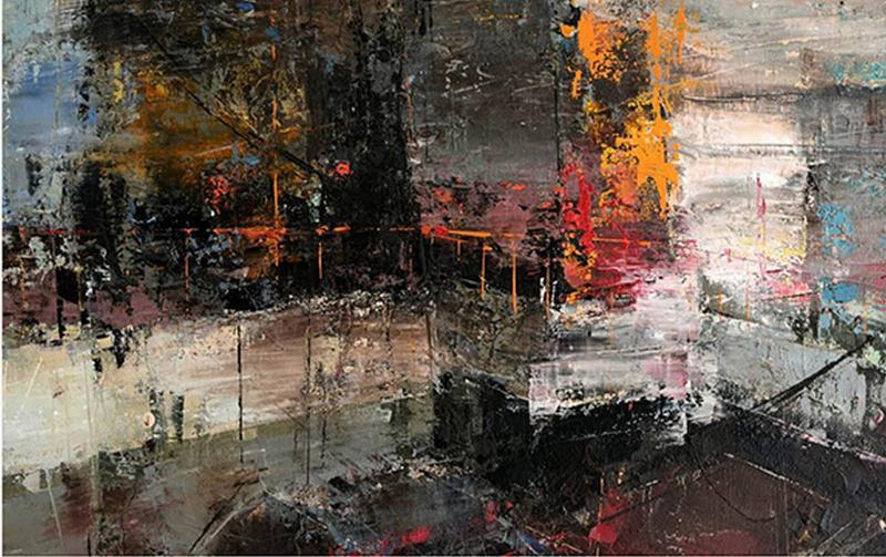 Fotis Kllogjeri, Untitled, Oil on Canvas Series Urban Landscape, 90 x 140 cm