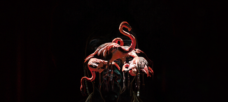 G.Knight,Black Coffee for Flamingos, 80 x 192 cm, Acrylic on Canvas