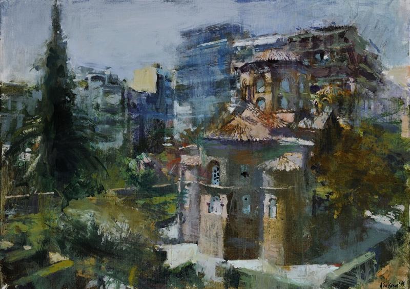 Γιάννης Αδαμάκης, Η Παναγία των Χαλκέων, 2014, 50Χ70 εκ., ακρυλικά σε μουσαμά