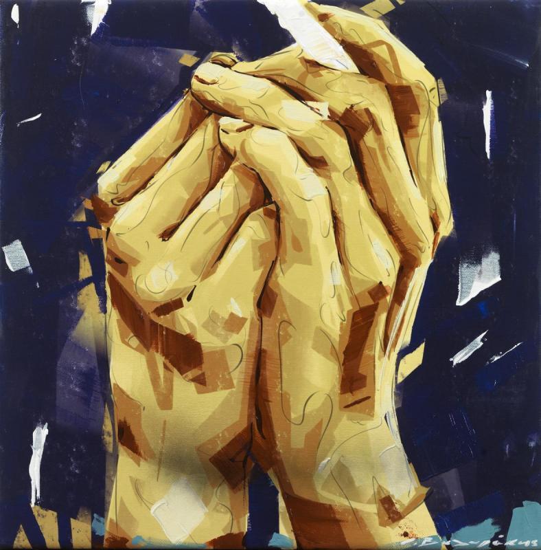 Giannis Valirakis, Habit, 45 x 45 cm, Acrylic on canvas, 2019