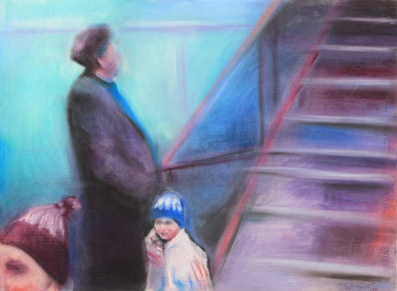 Giorgos Taxidis, memories, 2018, Soft pastel on paper, 56 x 76cm