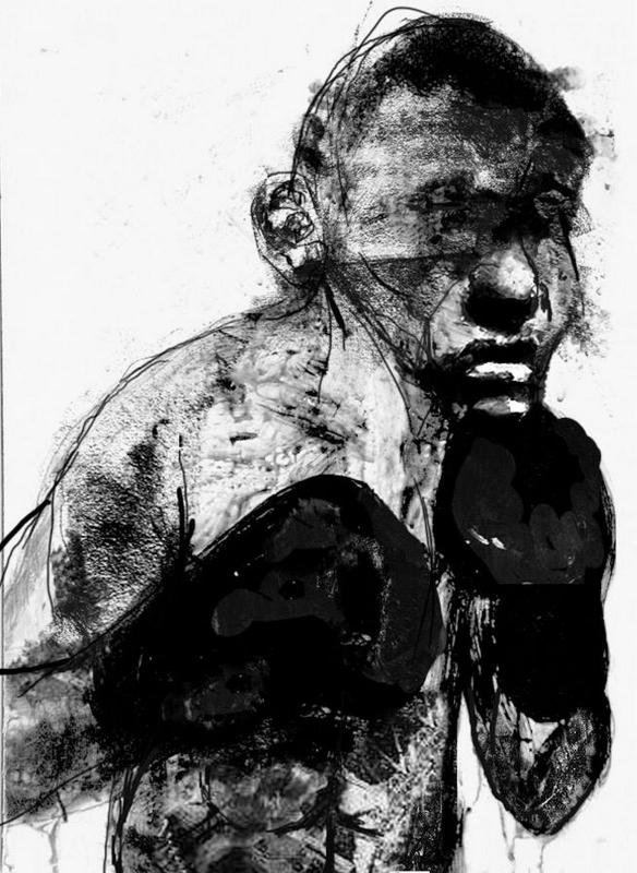 John Sugahtank Roumbanis, I Need to Try Harder, 35x50cm, acrylic, ink and Catson paper, Retired Boxer, 2017