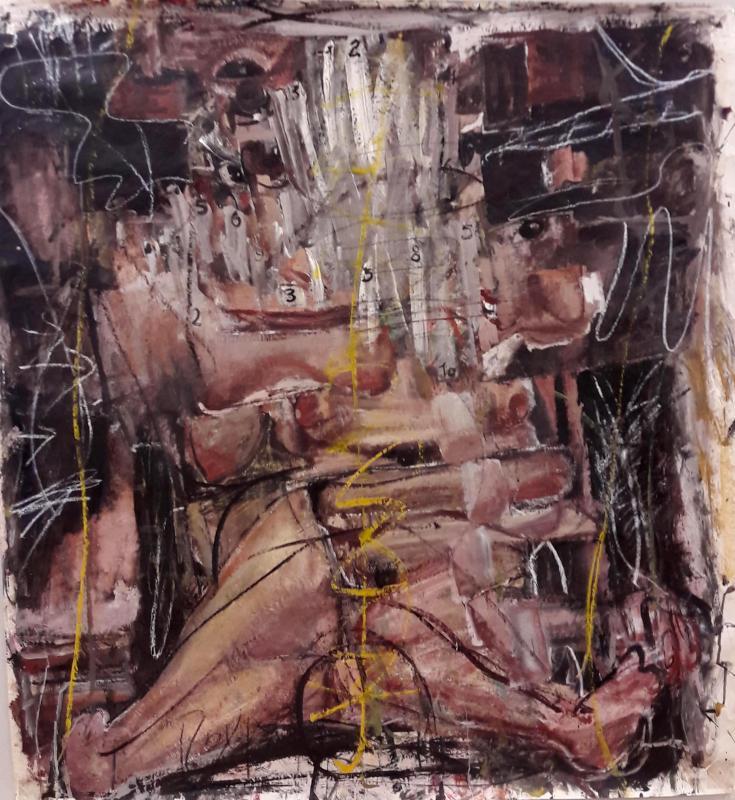 Manolis Polymeris, untitled, oil on paper mount on canvas, 110x100