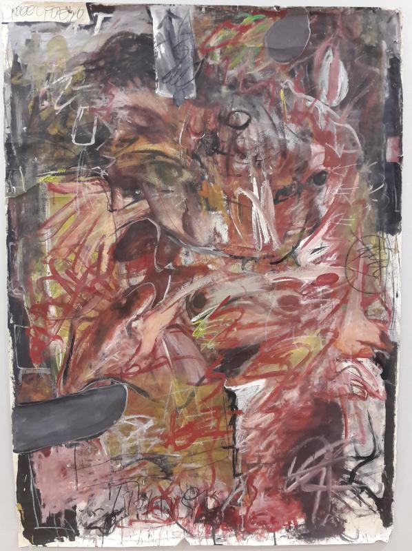 Manolis Polymeris, untitled, oil on paper mount on canvas, 120  x 100 cm