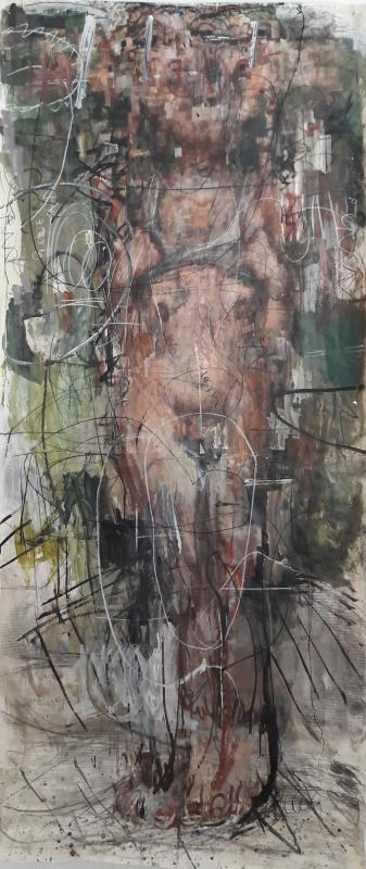 Manolis Polymeris, untitled, oil on paper mount on canvas, 200 x 100 cm