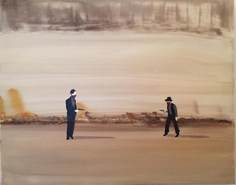 Marcel Dzama, The Troubled Shooters, 2003, Oil on canvas, 40 x 50cm
