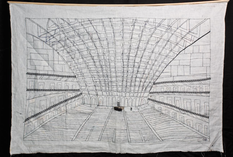 Maria Arendt, Palace of Labour. 2015. Fabric, embroidery.102 x 144 cm_