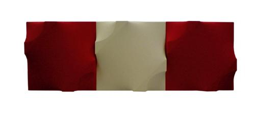 Michaeledes Michael, Red White Relief in 3 Pieces, 2006, 53x159x06