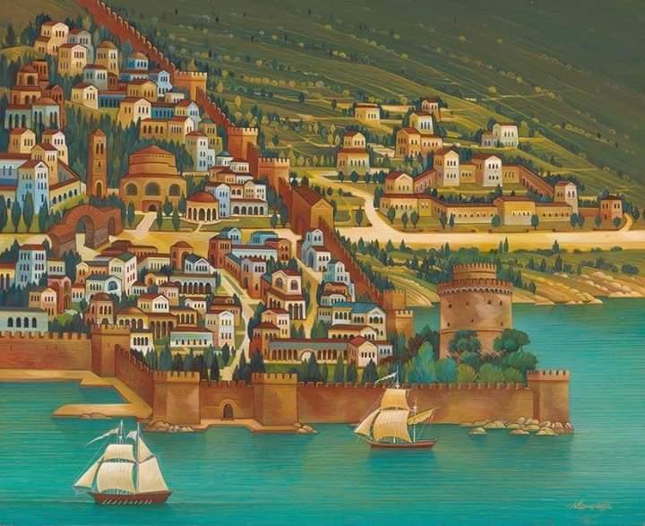 Mpakogiorgos Thanasis,Byzantine Thessaloniki,acrylic on wood, 60x80 cm