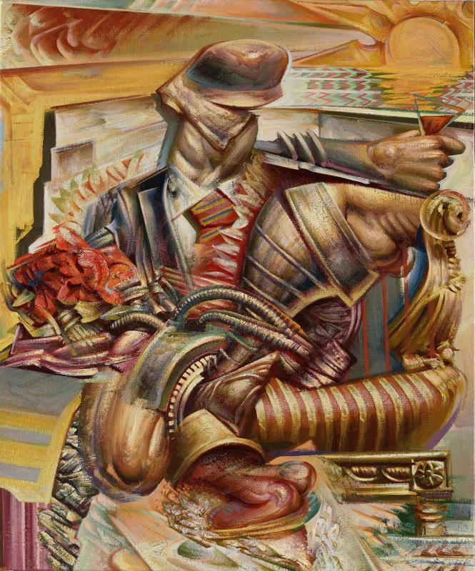 Nikos Moschos, Obsessive compulsive disorder, 2014, Acrylic on linen, 60 x 50 cm