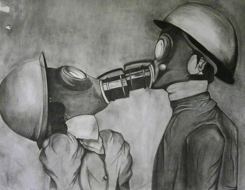 Nina  Michailidou   The last kiss   96x112 cm   Charcoal on white paper