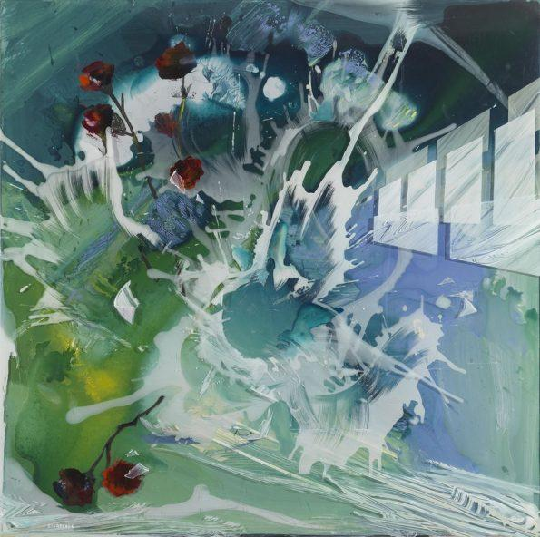 Panagiotis Siagreece, Explosion of Light, acrylic on canvas, plexiglass, 80 x 80 cm