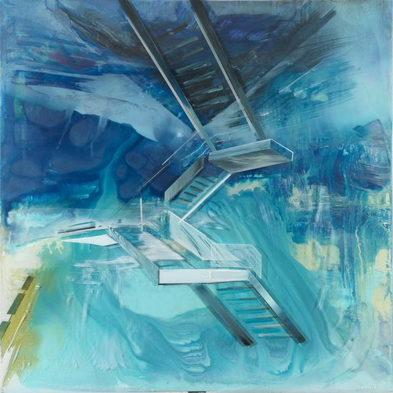 Panagiotis Siagreece, The Upper Floor II, 100 x 100 cm, Acrylic on canvas & plexiglass