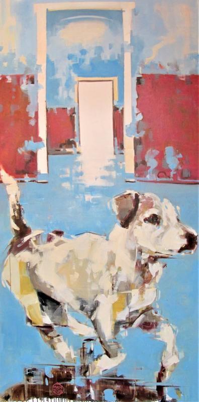 Paolo Maini cane bastardo 2018, oil   on canvas, 70,86 x 35,43 x 1 in, 180 x 90 x 2,5 cm Paolo Maini, $  3,900