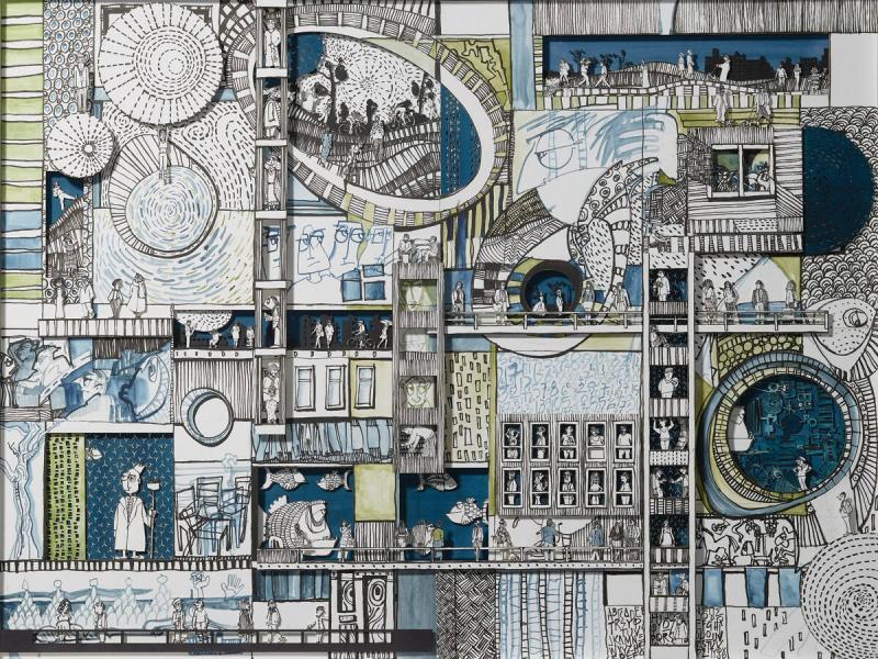 Philippos Fotiadis, Bit Players, mixed media, 1.87 x 118 x 3 cm