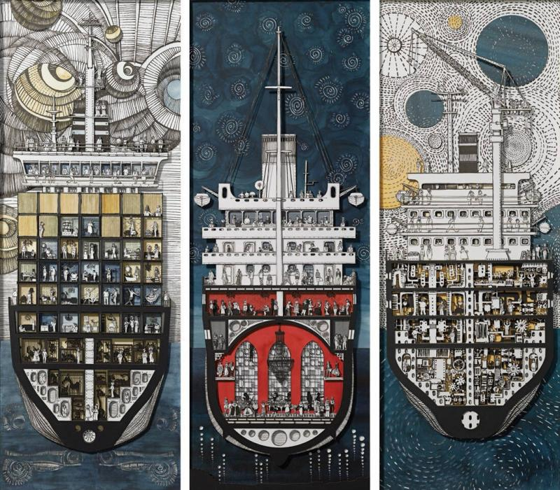 Philippos Fotiadis, Bit Players, mixed media, 2.118 x 43 x 3 cm