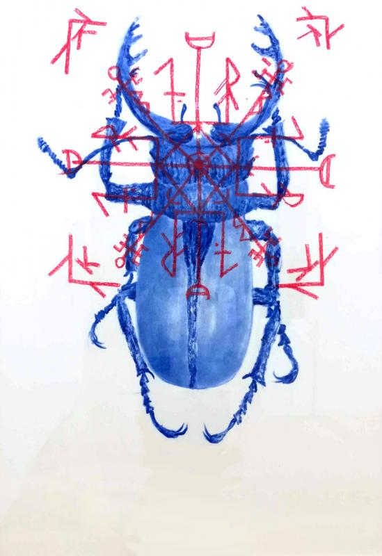 Regeneration, blue pigment an dpastel on paper, 100x70, 2019