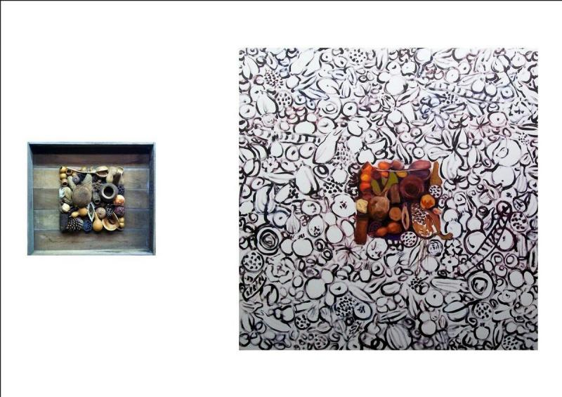 S. Kotsireas - SEEDS OF MOTHER EARTH (Diptych) - Mixed media - 63X71X15cm left,  150X150cm right