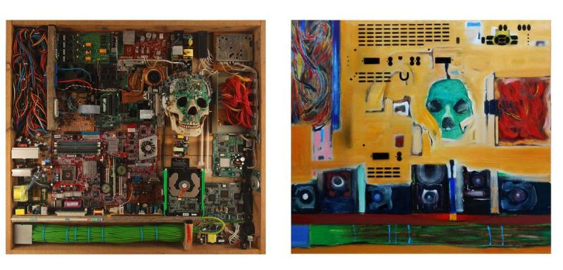 S. Kotsireas – TECHNOLOGY STATE OF MIND (Diptych) – Mixed media, 72X78X19cm left, 72X78cm right_