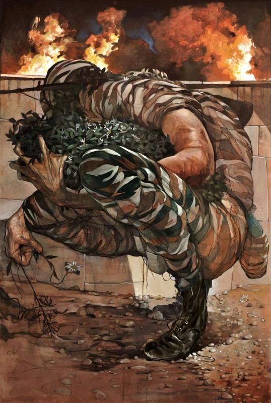 Stamatis Laskos, Soldier, 2017, oil on canvas, 180x120 cm