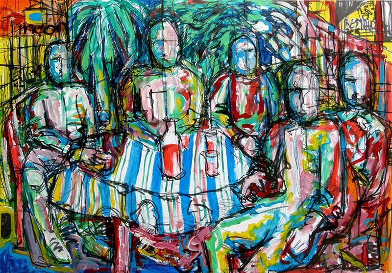 Stavros Apostolou, Tavern, Acrylic on Canvas, 2018, 100cm  x 70 cm