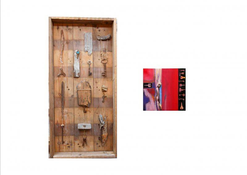 Stavros Kotsireas WHICH ONE II (diptych) 2017 Construction - Mixed Media, (wood, keys, metal) 104x50x10cm Paintings - Oil on canvas, 33x33cm