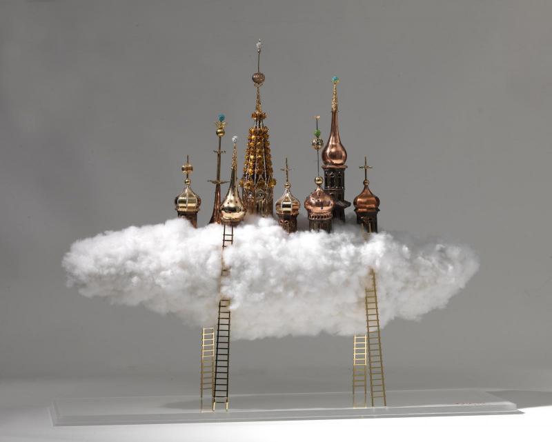 Stelios Gavalas,Untitled,Copper,Gold plated brass,swarovski,plexiglass,0.60x0.70x0.25 cm