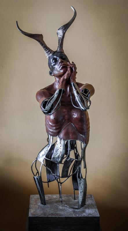 Stelios Sarros, I PRAYED ONCE, 2016, Sculpture, Iron Terracotta, 112x40x42cm