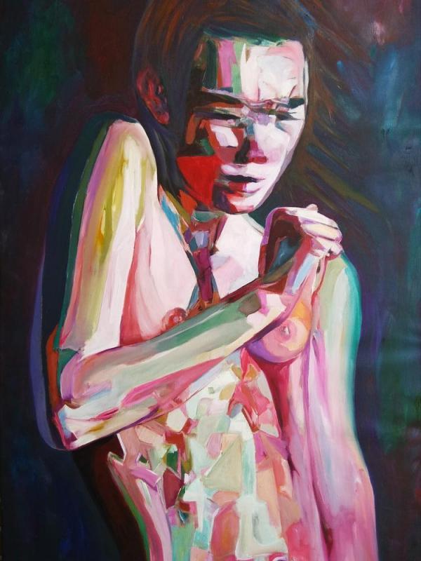 Stelios  Zacharoudis | Figure-Surprise | Oil on Canvas | 135x85 cm