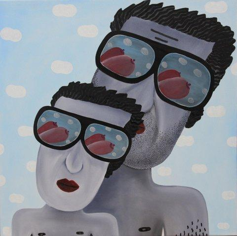 Tadija Janičić, Dad and son like to stare at tits,oil on canvas, 70x70, 2016