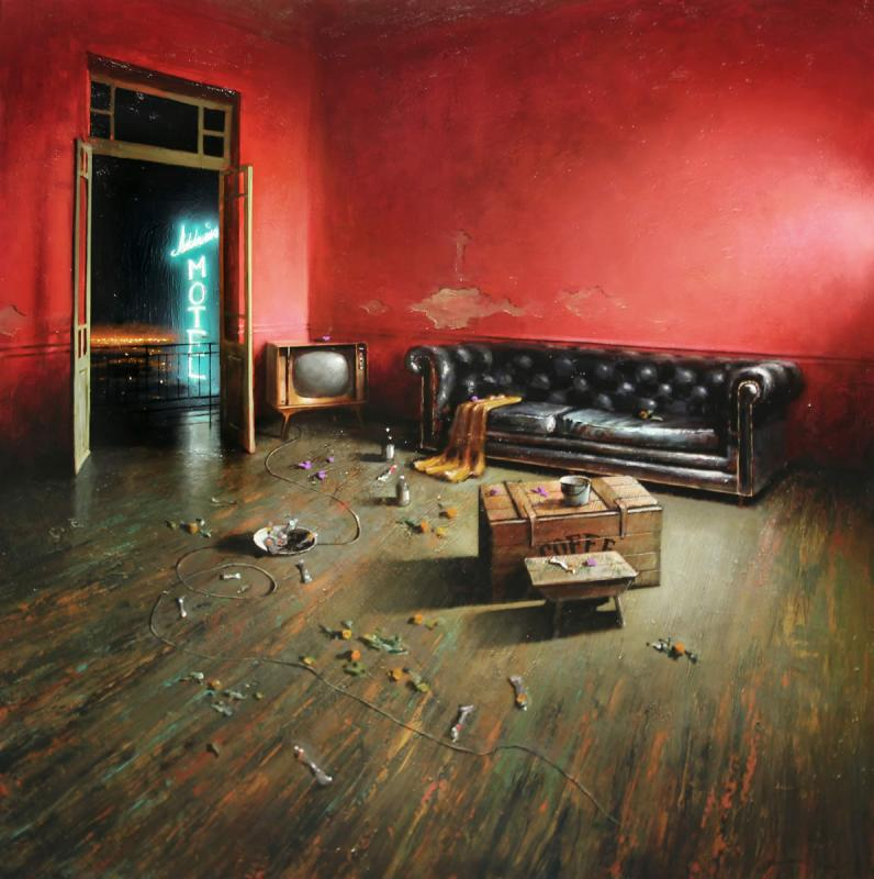 Tasos Chonias, Night in the red room, Oil on canvas, 130x130 cm