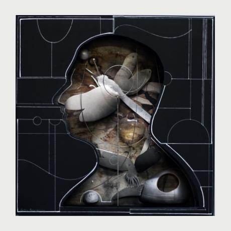 Aggelos Antonopoulos, Inside-A, Mixed Media, 2021, 60 x 60 x 7 cm