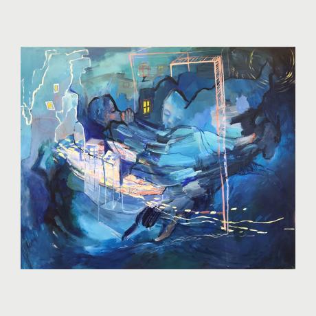 Angela Karalis, Night biography, 2021, Oil & acrylic on canvas, 100 x 120 cm